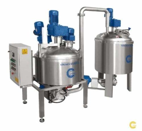 Автоматическая установка для приготовления крема с емкостью хранения и подачи крема на установку намазки Göçmen Machine