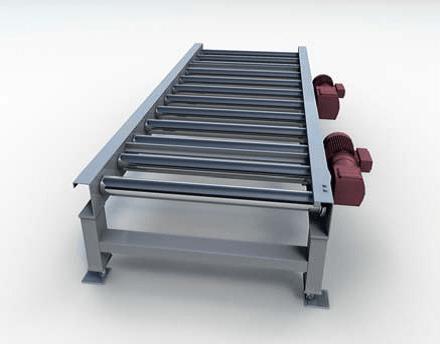 Горизонтальный паллетный приводной роликовый конвейер