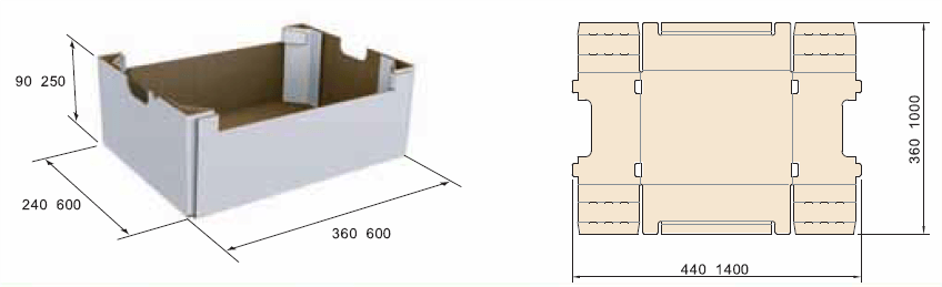 Лоток с открытой угловой стойкой во внутренней кромке