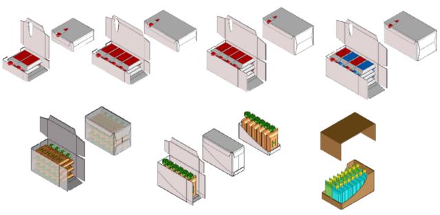 Варианты укладки паучей в формируемые коробки и шоу-боксы