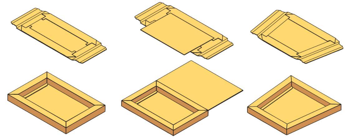 картонных коробок с двойными бортами (для сборки фиксирующих клапанов).